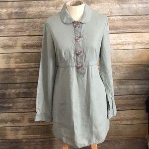 BODEN LINEN TUNIC DRESS green blue 4
